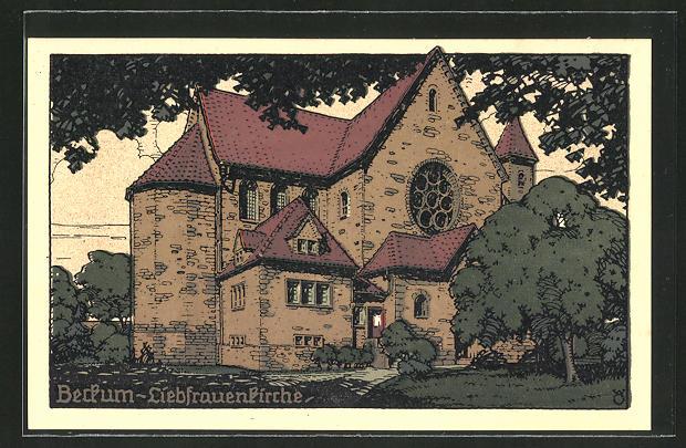 Steindruck-AK Beckum, An der Liebfrauenkirche