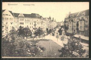 AK Berlin-Wilmersdorf, Strassenbahn auf dem Nikolsburger Platz