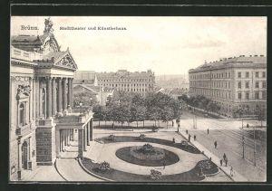 AK Brünn / Brno, Stadttheater und Künstlerhaus
