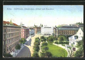 AK Brünn / Brno, Stadttheater, Künstlerhaus, Zollamt und Bienenhaus