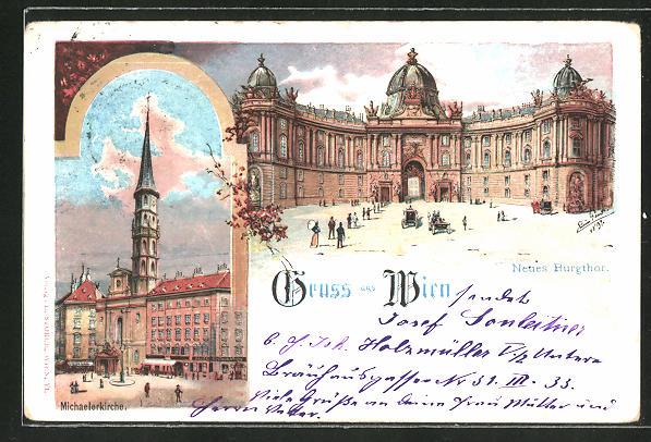 Künstler-AK Erwin Pendl: Wien, Neues Burgthor und Michaelerkirche