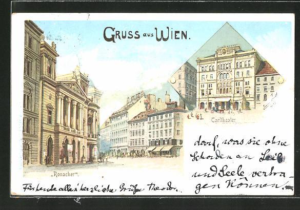 Künstler-AK Erwin Pendl: Wien, Carltheater und