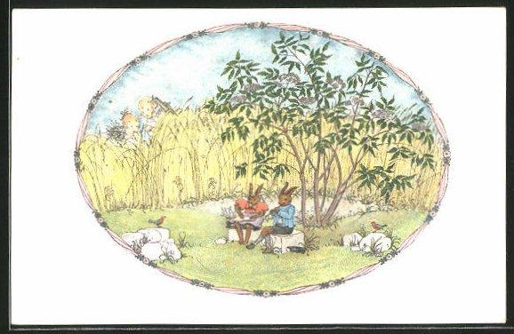 Künstler-AK Mela Köhler: Osterhasen werden von Kindern beim Musizieren beobachtet