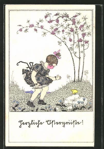 Künstler-AK Mela Köhler: Herzliche Ostergrüsse, Mädchen findet ein Osterküken