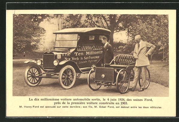 AK Der 10 millionste gebaute Ford, Henry und Edsel Ford