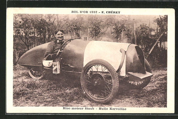 AK Bol d'Or 1932, E. Chéret, Bloc moteur Staub, Huile Kervoline, Dreirad