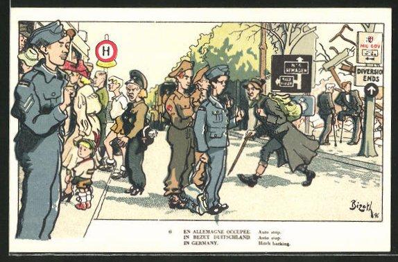 Künstler-AK Belgische Soldaten im besetzten Deutschland