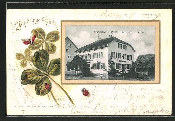 Passepartout-Lithographie Riedöschingen, Gasthaus zum Adler, Klee