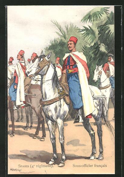 Künstler-AK Spahis, Sous-officier francais, nordafrik. Kavallerie