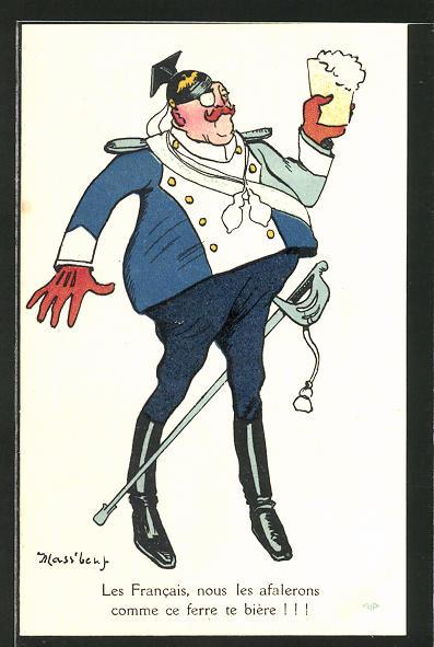 AK Les Francais, nous les afalerons..., Karikatur eines preuss. Ulanen