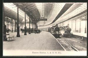 AK London, Euston-Station, L. & N. W. Rly, Bahnhof