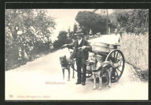 AK Milchkarren, Mann mit Hundegespann