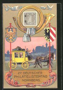 AK Nürnberg, 27. Deutscher Philatelistentag, Postkutsche, Ganzsache