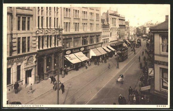 AK Cardiff, Queen Street mit Strassenbahn