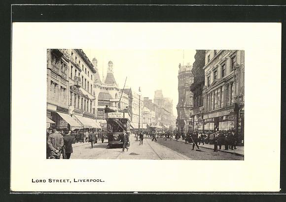 AK Liverpool, Lord Street mit Strassenbahn