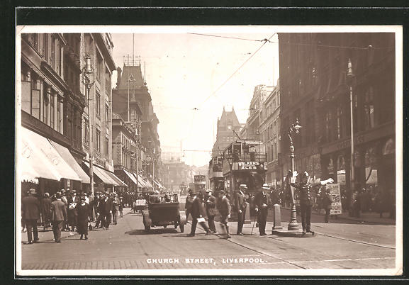 AK Liverpool, Church Street mit Strassenbahn