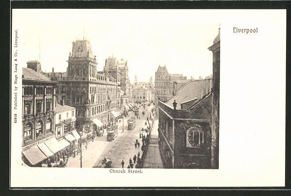 AK Liverpool, Church Street, Strassenbahn