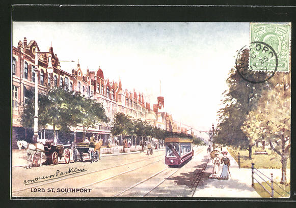 AK Southport, Lord Street mit Strassenbahn