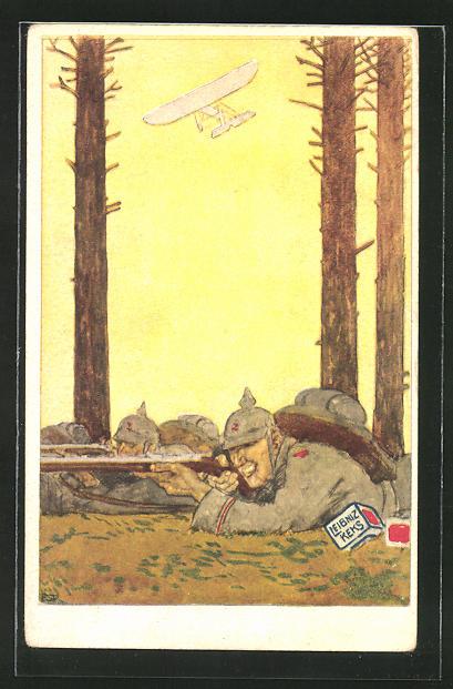 Künstler-AK Leibniz Keks, Infanterie-Schützenlinie