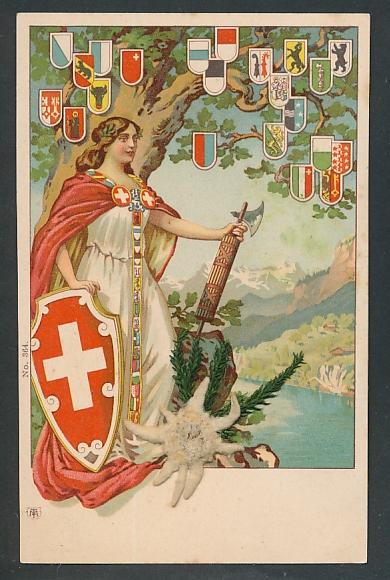Trockenblumen-Lithographie Helvetia, Kantonswappen und Edelweiss-Trockenblume