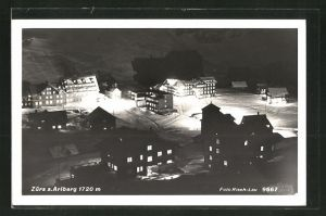 AK Zürs, Ortsansicht bei Nacht