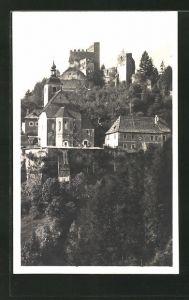 AK Unzmarkt, Blick zur Ruine Frauenburg