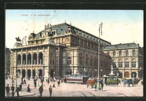 AK Wien, Hofoper, davor Strassenbahn und Kutschen