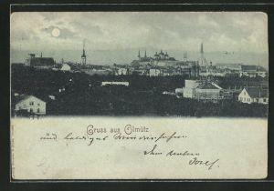 Mondschein-AK Olmütz, Gesamtansicht der Ortschaft
