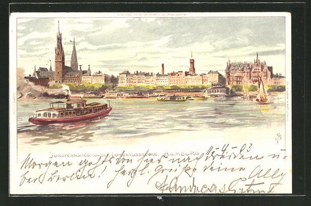 Künstler-AK Carl Biese: Hamburg, Jungfernstieg von der Lombardsbrücke