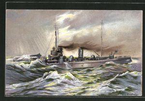 Künstler-AK K. Blossfeld: Kriegsschiff vor dem Sturm