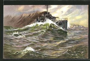 Künstler-AK K. Blossfeld: Kriegsschiff bei Windstärke 10