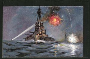 Künstler-AK K. Blossfeld: Kriegsschiff feuert Sternsignale ab