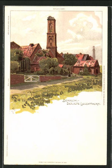 Künstler-AK Carl Biese: Borkum, Partie am alten Leuchtturm