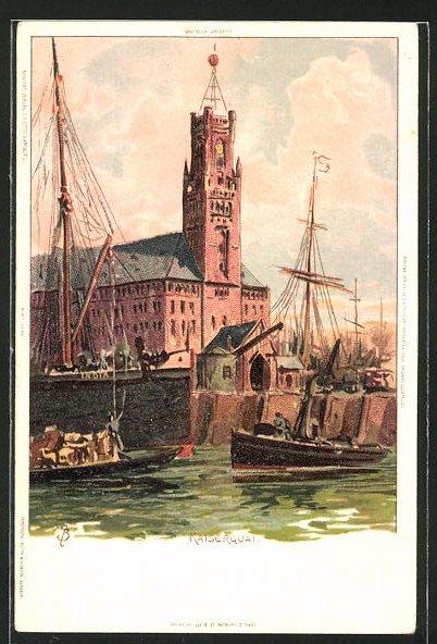 Künstler-AK Carl Biese: Hamburg, Schiffe am Kaiserquai