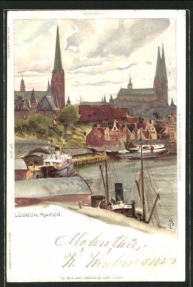 Künstler-AK Carl Biese: Lübeck, Ortspartie, Schiffe im Hafen