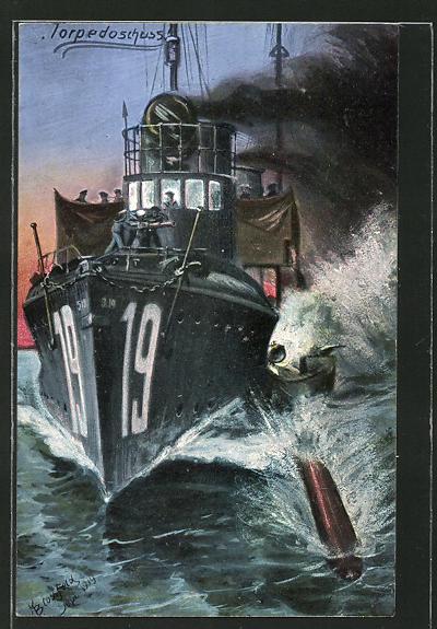 Künstler-AK K. Blossfeld: Torpedoschuss, Kriegsschiff