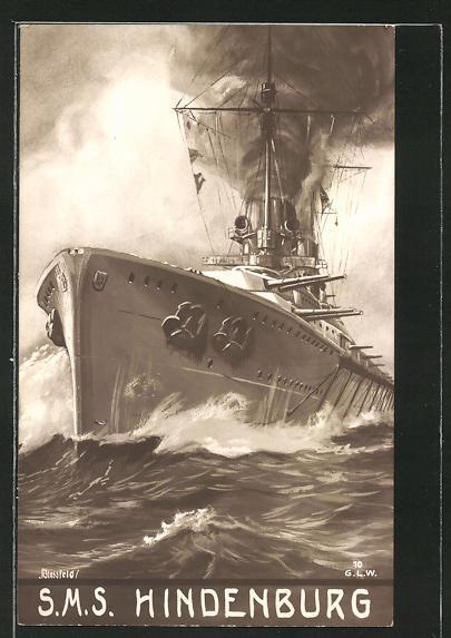Künstler-AK K. Blossfeld: SMS Hindenburg, Kriegsschiff