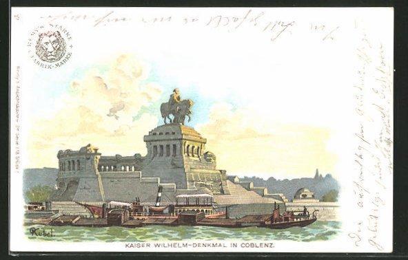 Künstler-AK Otto Kubel: Coblenz, Dampfer am Kaiser Wilhelm-Denkmal