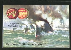 AK Kriegsschiff-Durchbruch