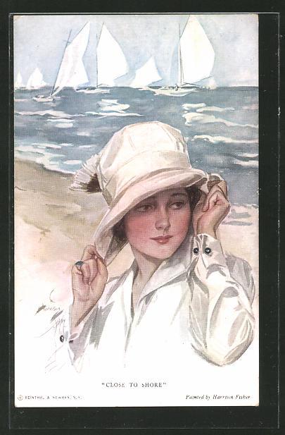 Künstler-AK Harrison Fisher: Close to Shore, Fräulein mit Hut und Segelboote