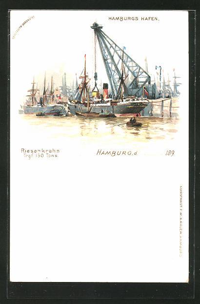 Lithographie Hamburg, Riesenkran im Hafen
