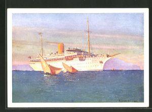 Künstler-AK Robert Schmidt: Passagierschiff Stella Polaris kreuzt vor der Küste