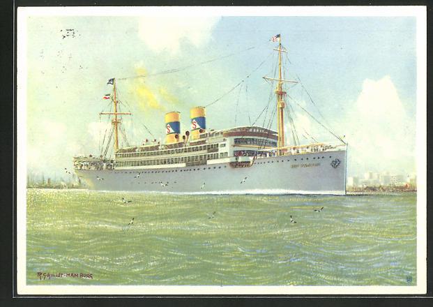 Künstler-AK Robert Schmidt: Passagierschiff Rio Panuco vor Tampico