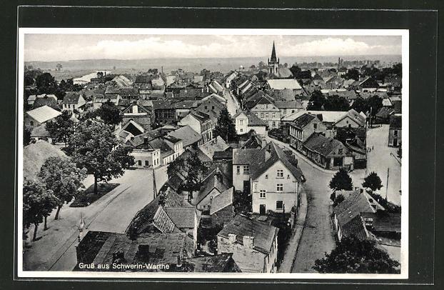 AK Schwerin / Skwierzyna-Warthe, Totalansicht aus der Vogelschau