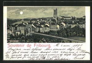 Mondschein-Lithographie Fribourg, Ortspartie mit Brücke aus der Vogelschau