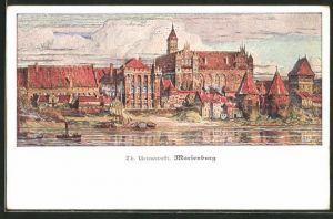 AK Marienburg / Malbork, Ortsansicht vom Wasser aus gesehen