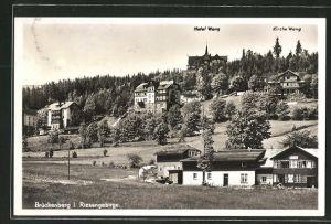 AK Brückenberg, Ortsansicht mit Hotel & Kirche Wang