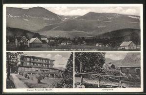 AK Steinseiffen, Totalansicht mit Schneekoppe, Kaiser Friedrich-Baude, Dorfpartie