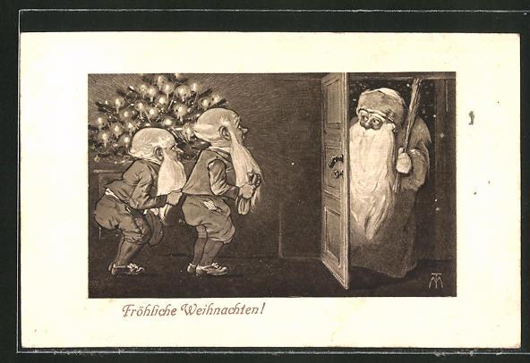 Künstler-AK Maxim Trübe: Weihnachtsmann mit Rute und bange Zwerge