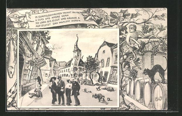 Wirtshaus-AK Gumboldskirchen, aus der Sicht eines Betrunkenen